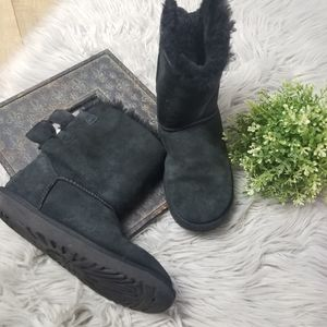 UGG Meilani Fuzzy Black Double Bow Boots Suede